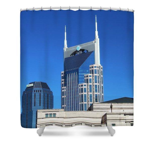 Batman Building And Nashville Skyline Shower Curtain by Dan Sproul