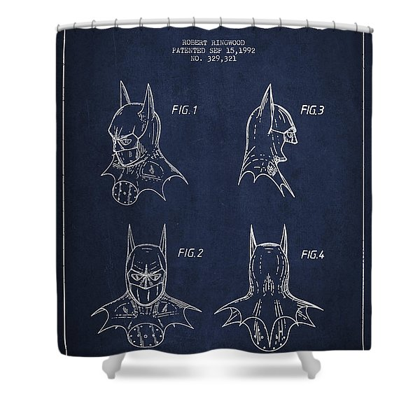Batman Head Dress Patent Drawing Shower Curtain by Aged Pixel
