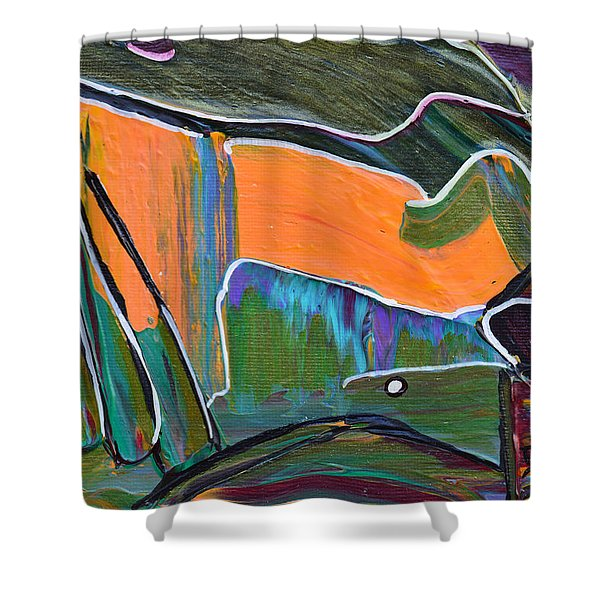 Batting Practice Shower Curtain by Donna Blackhall