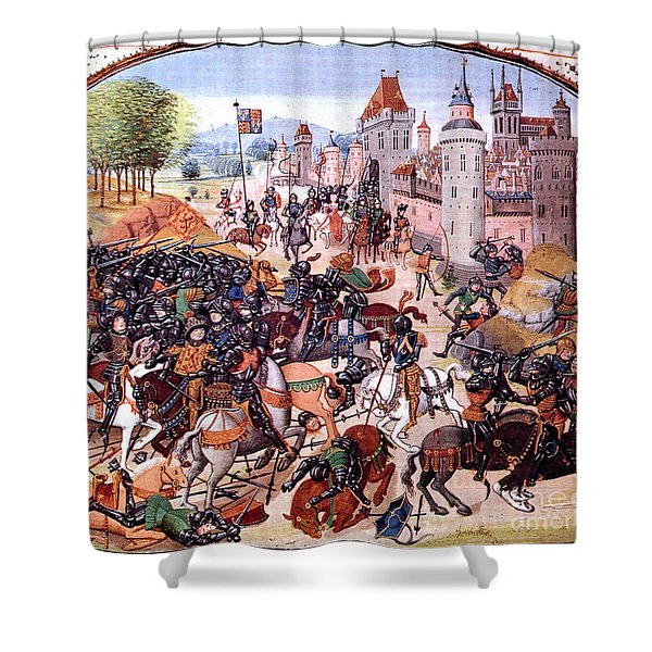 Battle Of Nevilles Cross 1346 Shower Curtain by Photo Researchers