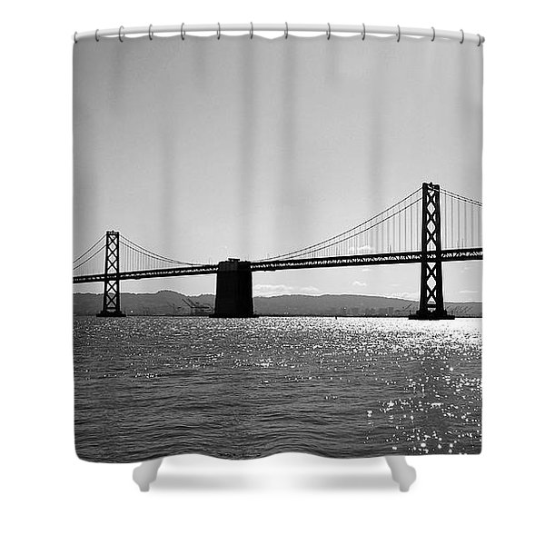 Bay Bridge Shower Curtain by Rona Black