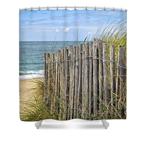 Beach fence Shower Curtain by Elena Elisseeva
