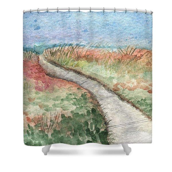 Beach Path Shower Curtain by Linda Woods