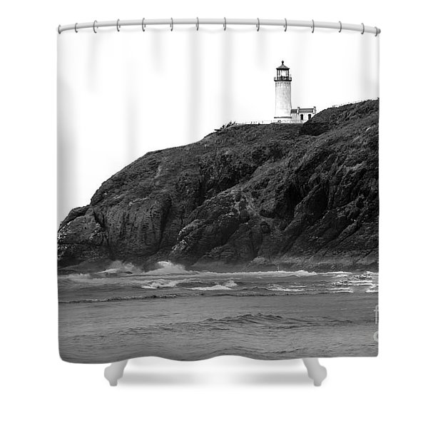 Beach View of North Head Lighthouse Shower Curtain by Robert Bales