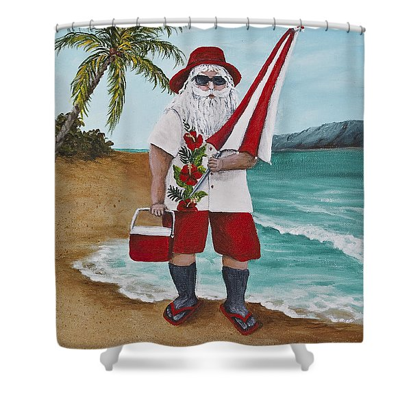 Beachen Santa Shower Curtain by Darice Machel McGuire