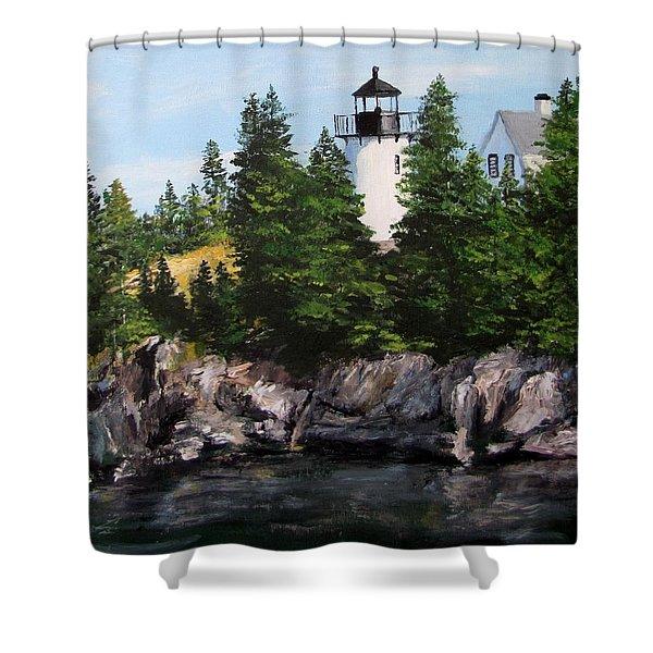 Bear Island Lighthouse Shower Curtain by Jack Skinner