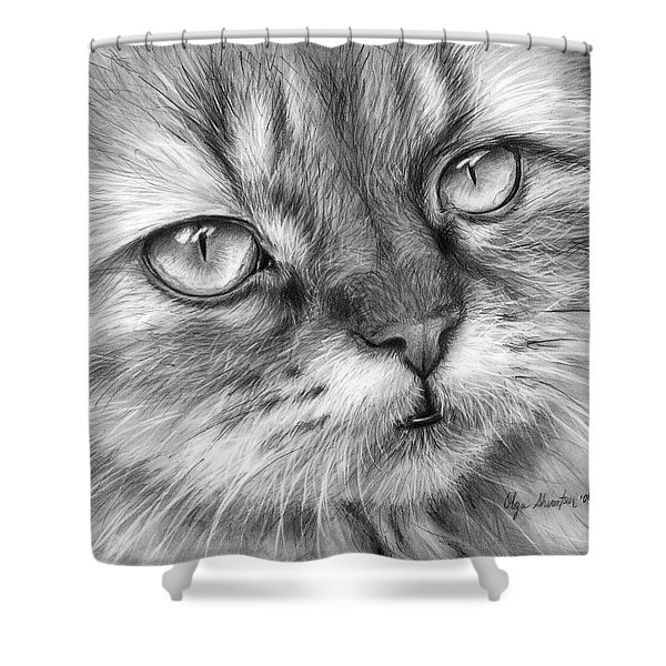 Beautiful Cat Shower Curtain by Olga Shvartsur