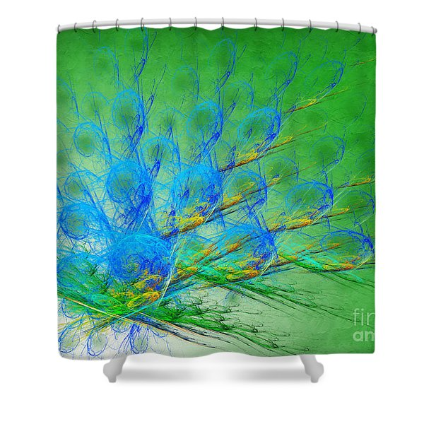 Beautiful Peacock Abstract 1 Shower Curtain by Andee Design