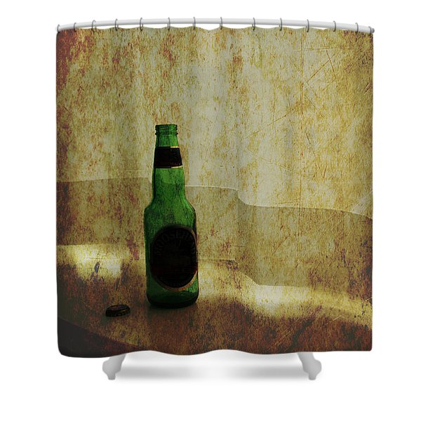 Beer Bottle On Windowsill Shower Curtain by Randall Nyhof
