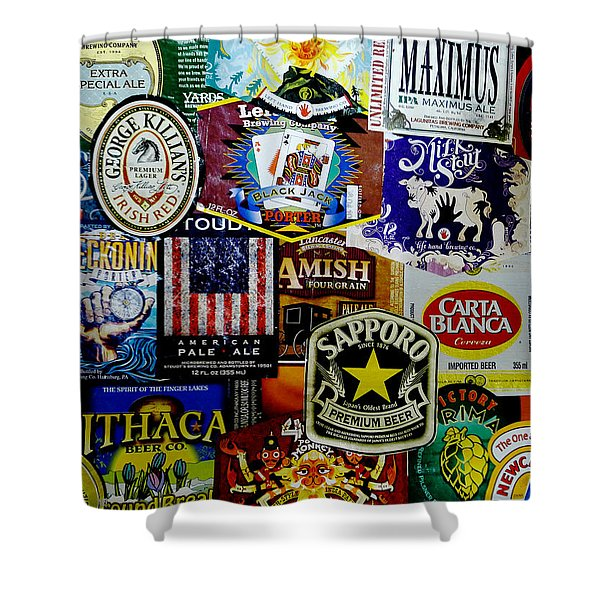 Beer Labels Shower Curtain by Richard Reeve