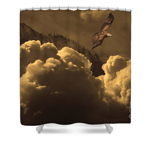 Before Memory . I Have Soared With The Hawk Shower Curtain by Wingsdomain Art and Photography
