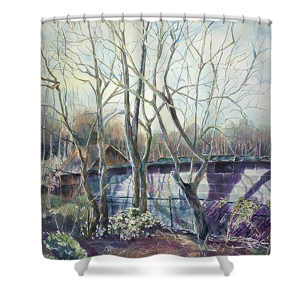 Behind The Shed Shower Curtain by Janet Felts