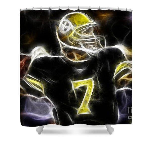Ben Roethlisberger  - Pittsburg Steelers Shower Curtain by Paul Ward