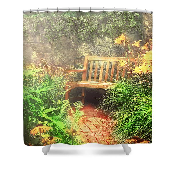 Bench - Privacy Shower Curtain by Mike Savad