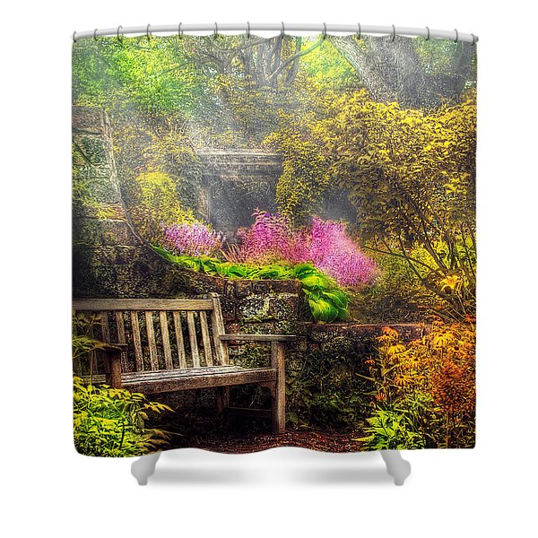Bench - Tranquility II Shower Curtain by Mike Savad