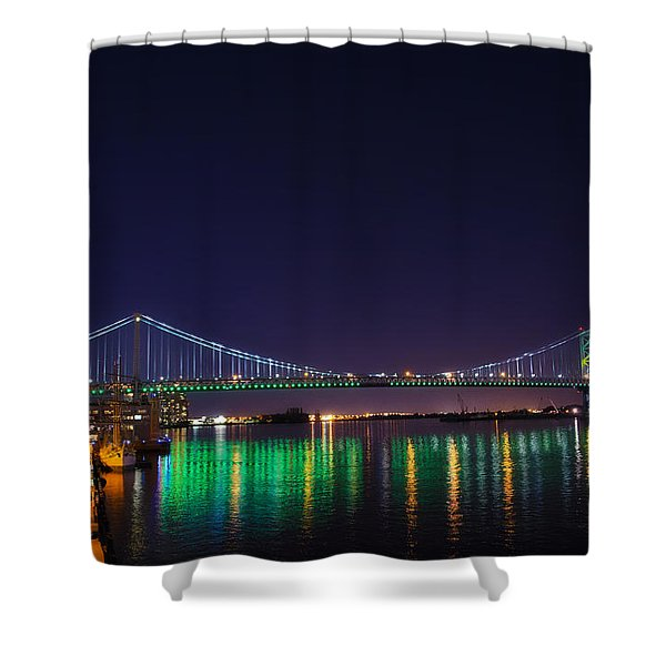 Benjamin Franklin Bridge at Night from Penn's Landing Shower Curtain by Bill Cannon