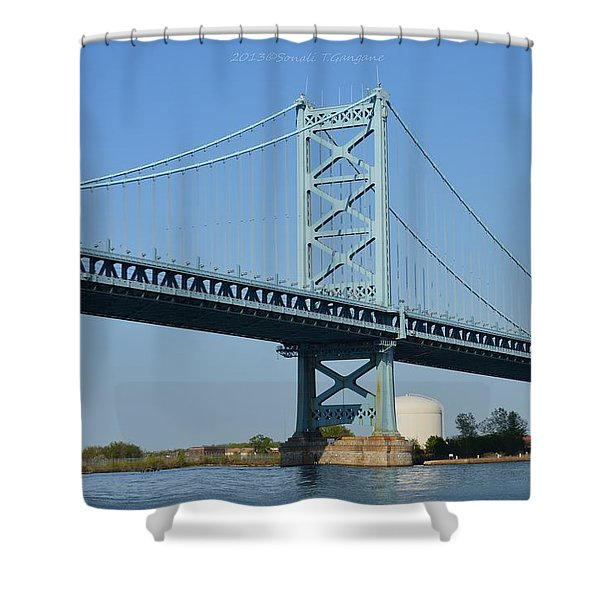 Benjamin Franklin Bridge Shower Curtain by Sonali Gangane