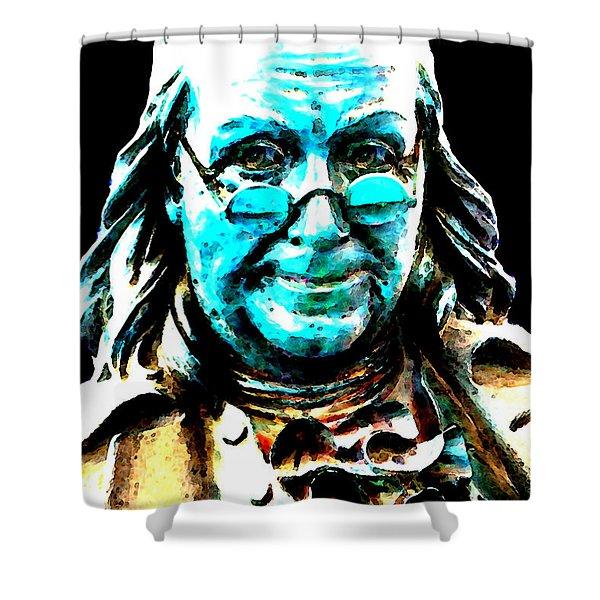 Benjamin Franklin - Historic Figure Pop Art By Sharon Cummings Shower Curtain by Sharon Cummings