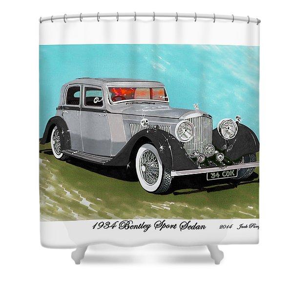 Bentley Sport Sedan 1934 Shower Curtain by Jack Pumphrey