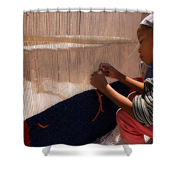 Berber Girl Working On Traditional Berber Rug Ait Benhaddou Southern Morocco Shower Curtain by Ralph A  Ledergerber-Photography