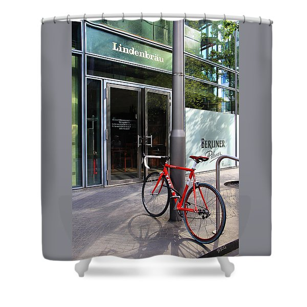 Berlin Street View With Red Bike Shower Curtain by Ben and Raisa Gertsberg