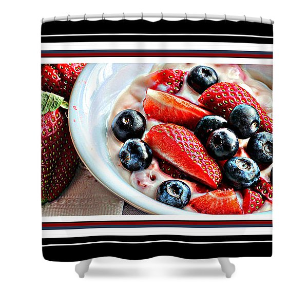 Berries and Yogurt Intense - Food - Kitchen Shower Curtain by Barbara Griffin