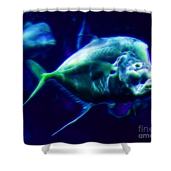 Big Fish Small Fish - Electric Shower Curtain by Wingsdomain Art and Photography