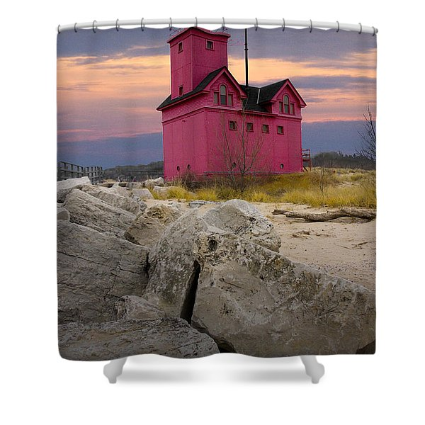 Big Red Lighthouse By Holland Michigan Shower Curtain by Randall Nyhof