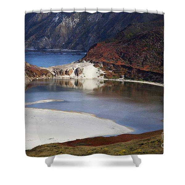 Big Sur Coastal Pond Shower Curtain by Jenna Szerlag