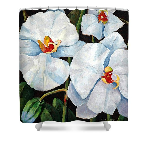 Big White Orchids - Floral Art By Betty Cummings Shower Curtain by Betty Cummings