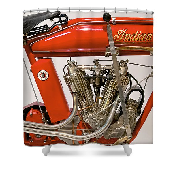 Bike - Motorcycle - Indian Motorcycle engine Shower Curtain by Mike Savad