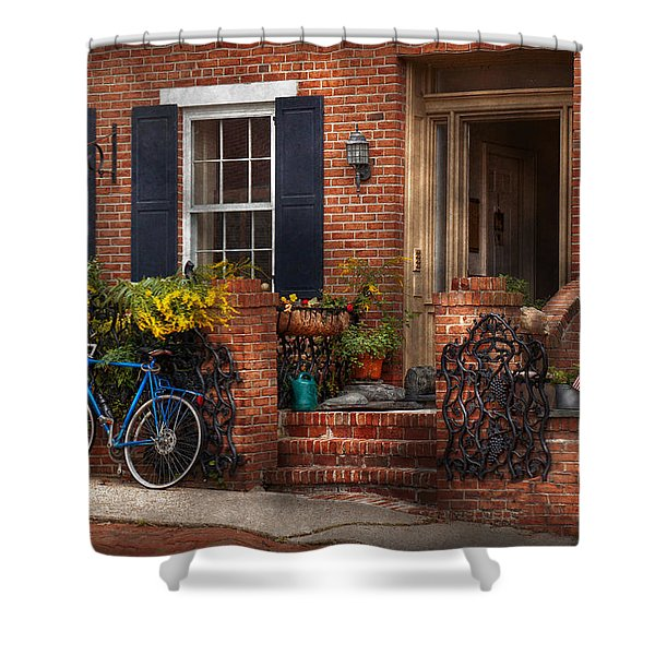 Bike - Waiting For A Ride Shower Curtain by Mike Savad