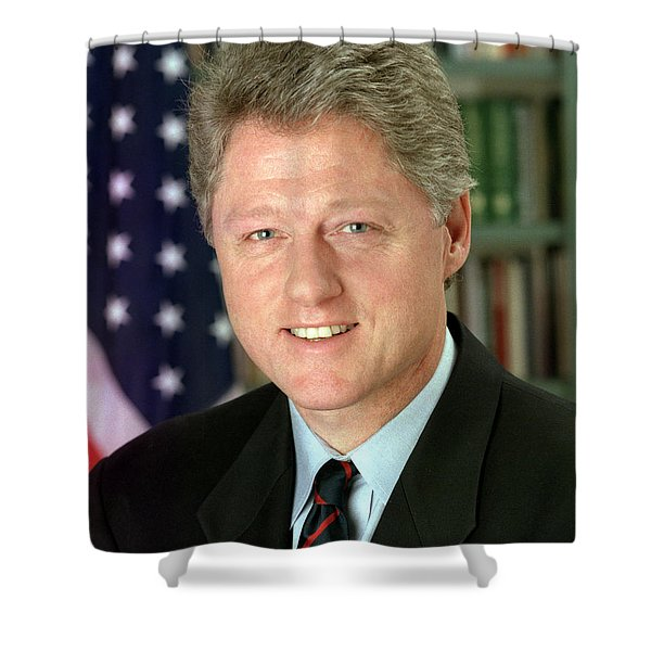 Bill Clinton Shower Curtain by Nomad Art And  Design