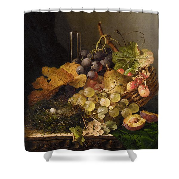 Birds Nest Butterfly And Cherries Shower Curtain by Edward Ladell