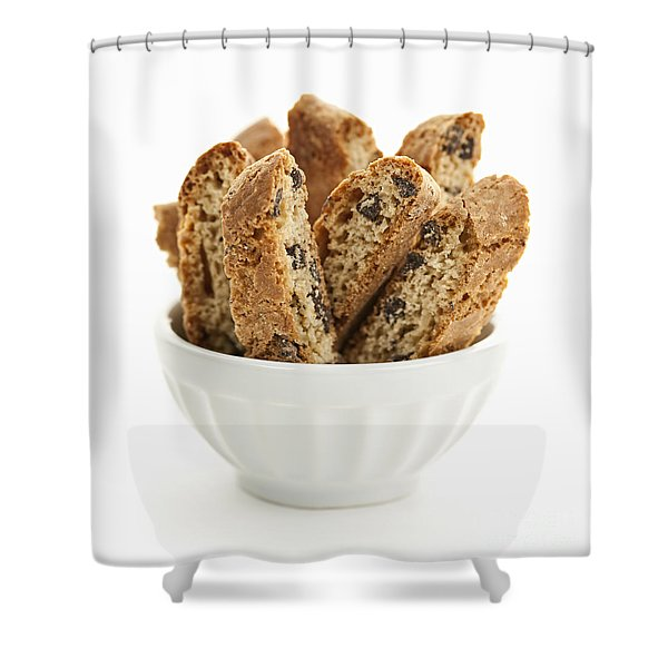 Biscotti cookies in bowl Shower Curtain by Elena Elisseeva