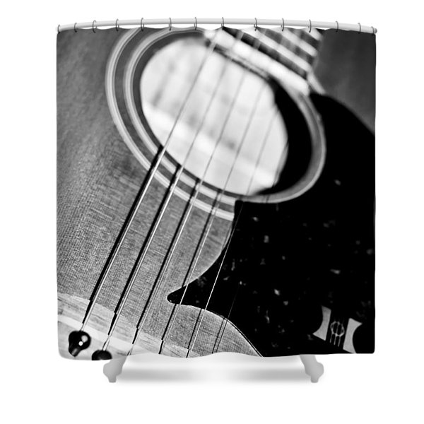 Black And White Harmony Guitar Shower Curtain by Athena Mckinzie