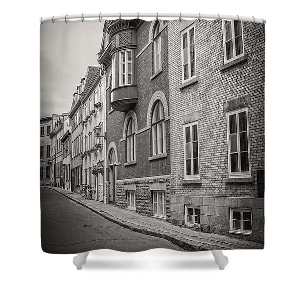Black And White Old Style Photo Of Old Quebec City Shower Curtain by Edward Fielding