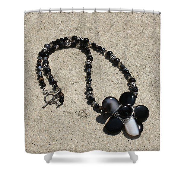 Black Banded Onyx Wire Wrapped Flower Pendant Necklace 3634 Shower Curtain by Teresa Mucha