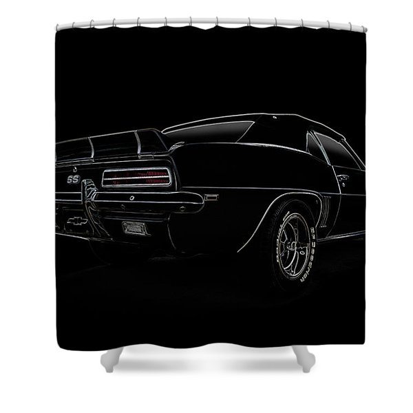 Black Ss Line Art Shower Curtain by Douglas Pittman