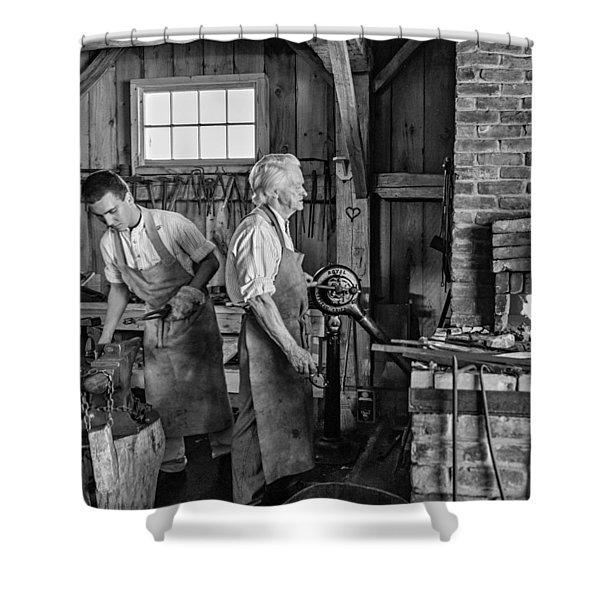Blacksmith and Apprentice 2 bw Shower Curtain by Steve Harrington