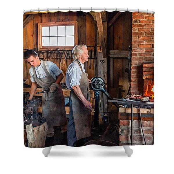 Blacksmith and Apprentice 2 Shower Curtain by Steve Harrington