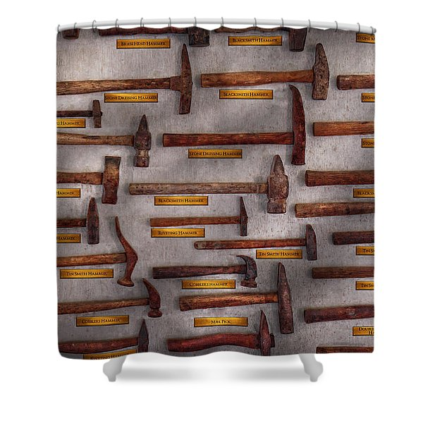 Blacksmith - Tools - Pounding headache  Shower Curtain by Mike Savad