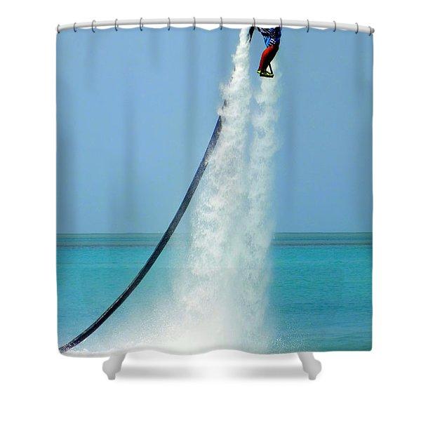 Blast Off Shower Curtain by Karen Wiles