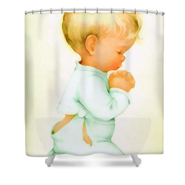 Bless Us All Shower Curtain by Charlotte Byj