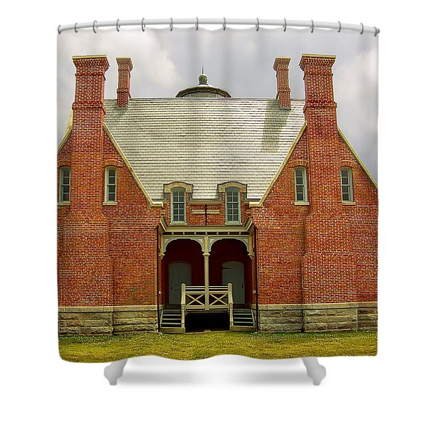 Block Island Southeast Light -Back View Shower Curtain by Lourry Legarde