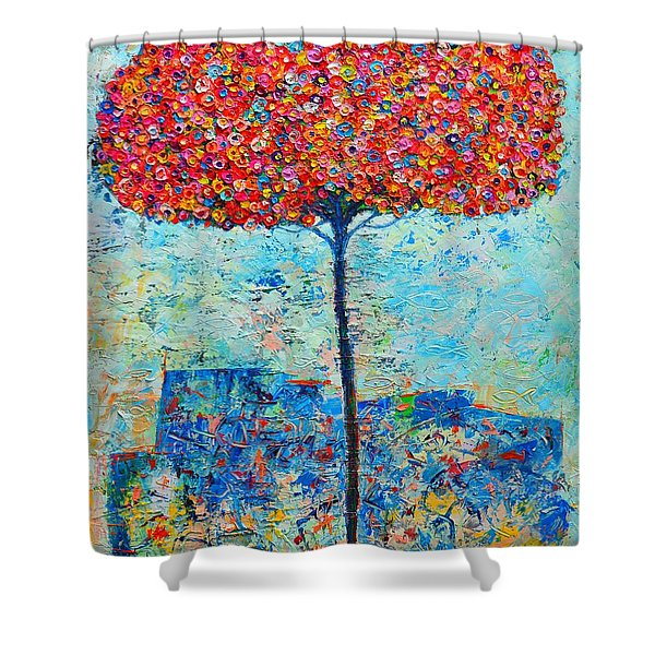 BLOOMING BEYOND KNOWN SKIES - THE TREE OF LIFE - ABSTRACT CONTEMPORARY ORIGINAL OIL PAINTING Shower Curtain by ANA MARIA EDULESCU
