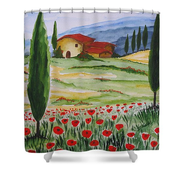 Blooming Poppy In Tuscany Shower Curtain by Christine Huwer