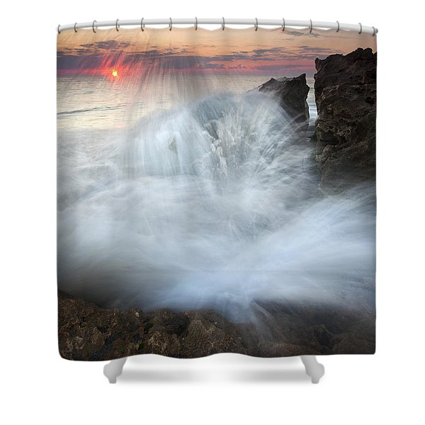 Blowing Rocks Sunrise Explosion Shower Curtain by Mike  Dawson