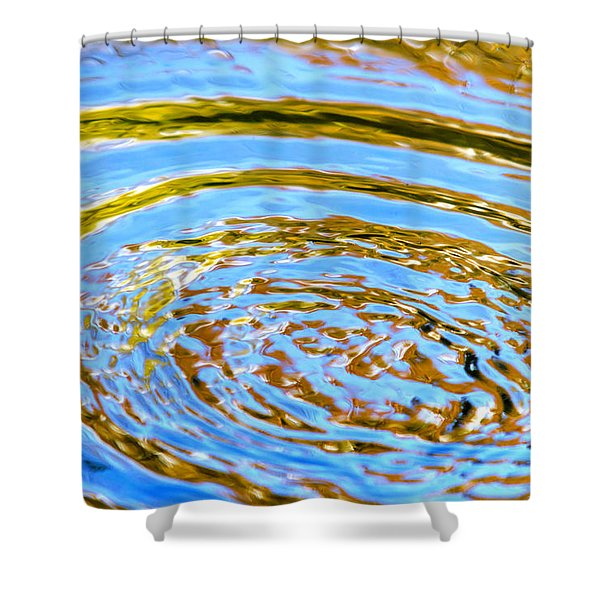 Blue And Gold Spiral Abstract Shower Curtain by Christina Rollo