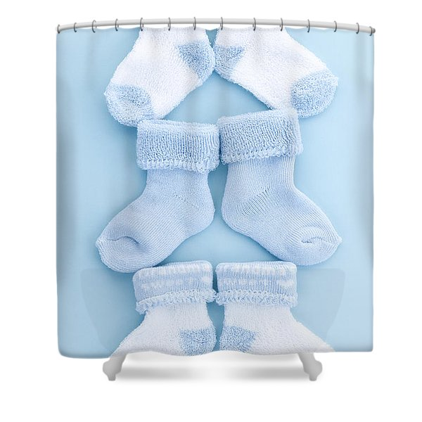 Blue baby socks Shower Curtain by Elena Elisseeva